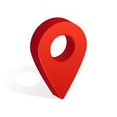 Map Pin Icon with Shadow Isolated on White Background. Vector Illustration.
