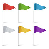 Colorful Cocktail Flags Vector. Set Multi Colored Pins Illustration.