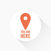 """Map pointer icon with long shadow and the text """"You are here"""". Concept of GPS, location, position, navigation, direction. Vector illustration, flat design"""