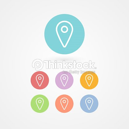 Map Pointer Outline Icon Set Concept Of Gps Location Position ... on