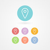 Map pointer outline icon set. Concept of GPS, location, position, navigation, direction. Vector illustration, flat design
