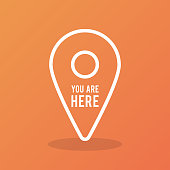 """Map pointer outline icon with the text """"You are here"""". Concept of GPS, location, position, navigation, direction. Vector illustration, flat design"""