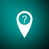 Map pointer with Question symbol icon isolated on green background. Marker location sign. For location maps. Sign for navigation. Index location on map. Flat design. Vector Illustration