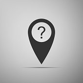 Map pointer with Question symbol icon isolated on grey background. Marker location sign. For location maps. Sign for navigation. Index location on map. Flat design. Vector Illustration