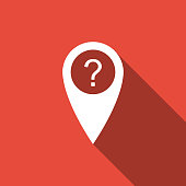 Map pointer with Question symbol icon isolated with long shadow. Marker location sign. For location maps. Sign for navigation. Index location on map. Flat design. Vector Illustration
