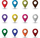 Map pointers set isolated on a white background. Colorful map markers. Flat style vector illustration