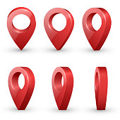 Shiny red  realistic map pointers vector set in various angles. Map pointer 3d pin. Location symbols.