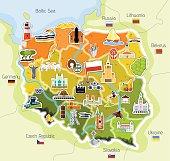 Mapa polski z charakterystycznymi elementami oraz budynkami