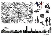 Map of Milan with sights on it. Surrounded by symbols like football, pasta, coffee, wine, glass, pizza, fashion.
