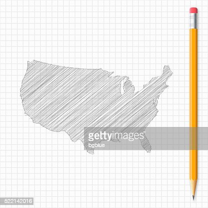Usa Map Sketch With Pencil On Grid Paper Vector Art Getty Images - Us map sketch