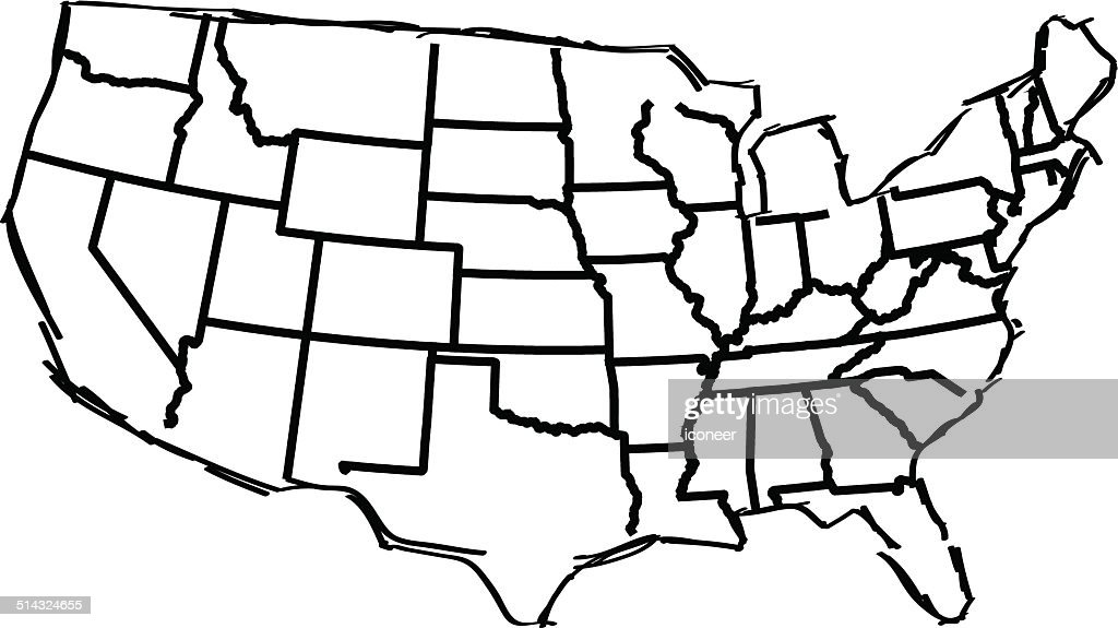 Usa Map Sketched White Background Vector Art Getty Images - Sketch drawing us map