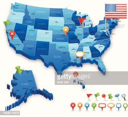 Usa D Map States Cities Flag And Navigation Icons Vector Art - Us vector map