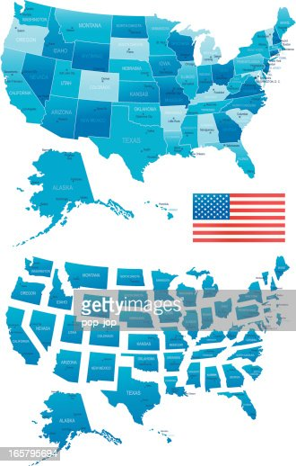 Map Of Usa States Cities And Navigation Icons Vector Art Getty - Usa map with states and cities
