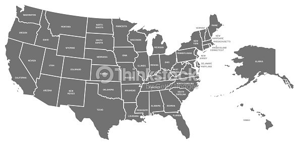 Usa Map United States Of America Poster With State Names Geographic ...