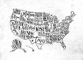 Vintage usa map with states inscription california, florida, washington, texas, new york, kansas, nevada, tennessy, missouri, arizona, illinois, oregon, louisiana drawing on dirty paper