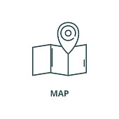 Map vector line icon, outline concept, linear sign