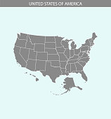 USA map vector outline illustration cartography in gray and blue background. Borders of all states of United States of America are included on this map.