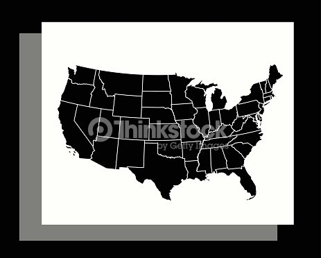 Usa Map Vector Outline Illustration In An Abstract Black And White ...