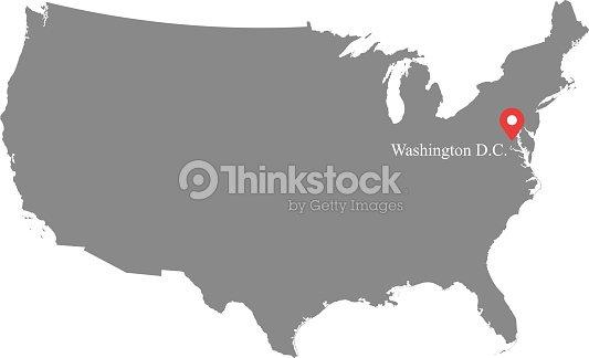 Usa Map Vector Outline Illustration With Capital Location Washington ...