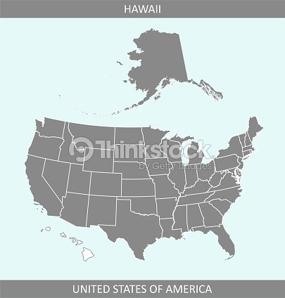 Usa Map Vector Outline Illustration With Highlighted State Of Hawaii ...