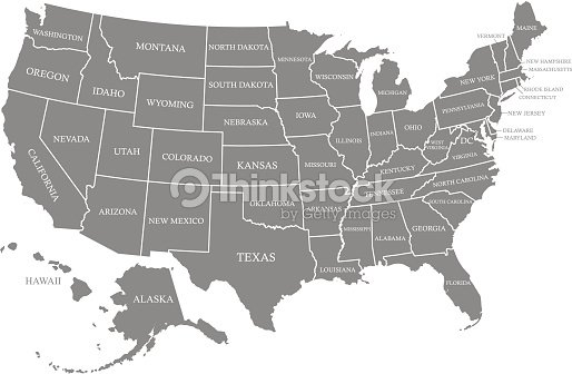 Usa Map Vector Outline With States Names In Gray Background Vector ...