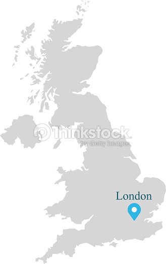 Uk Map Vector Outlines Illustration With Capital Location London In ...