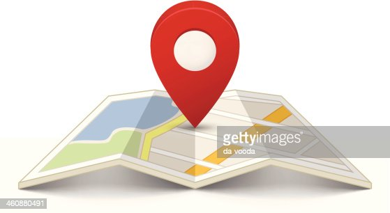Map with a pin : Vector Art
