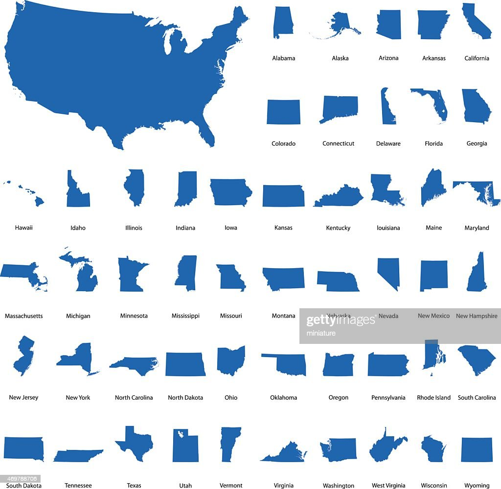 Usa Map With All States Vector Art Getty Images - Map of all the states
