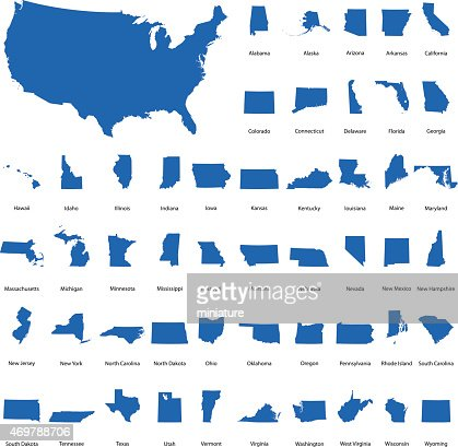 Usa Map With All States Vector Art Getty Images - Map of all states