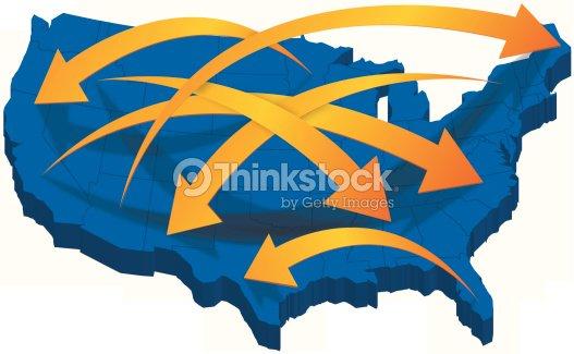 Usa 3d map with arrows vector art thinkstock usa 3d map with arrows vector art gumiabroncs Image collections