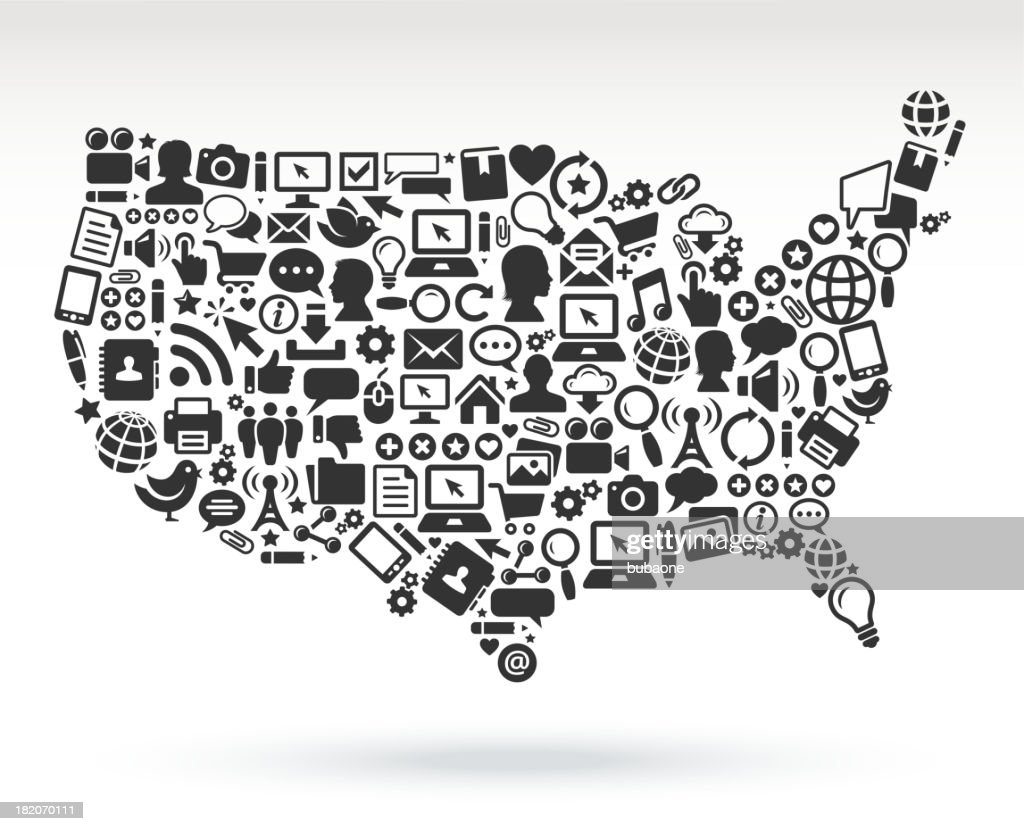 Usa Map With Black White Technology Royaltyfree Vector Arts Vector - Free vector usa map