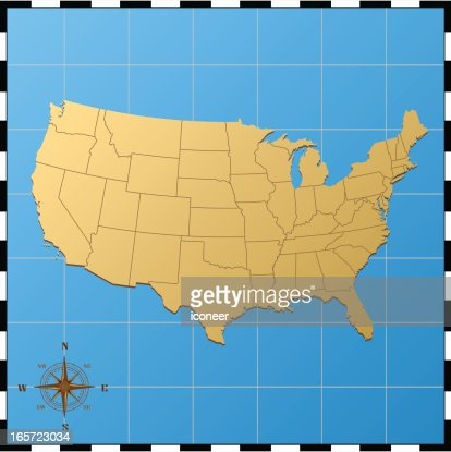 usa map with pass rose vector art ty images