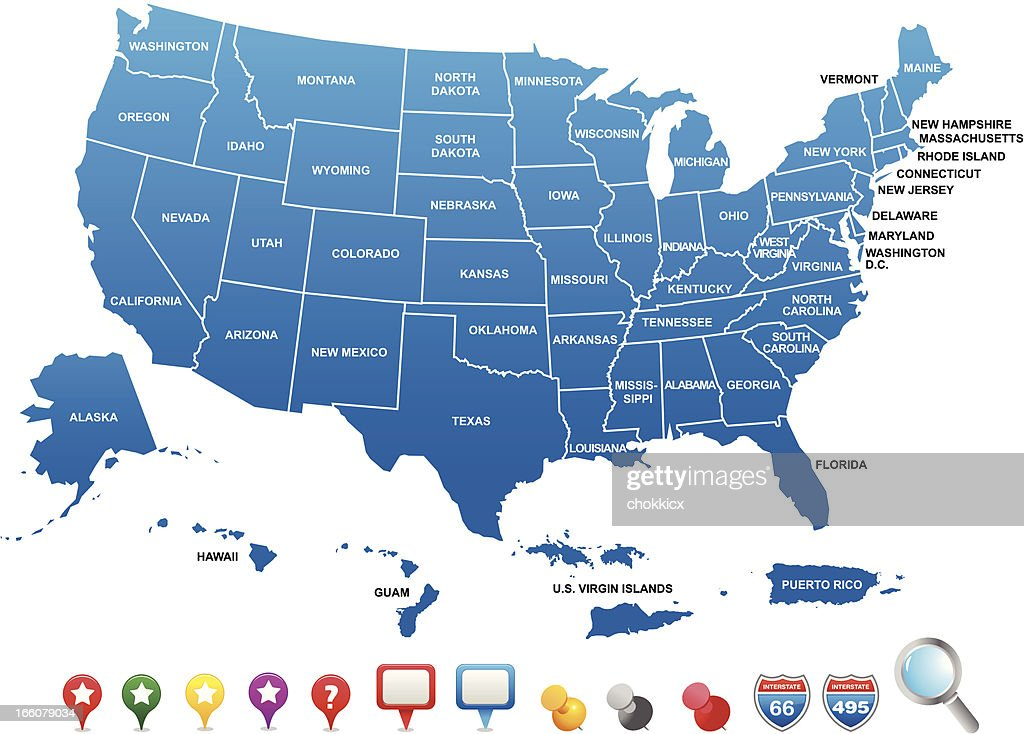 Colored Map Of The United States Of America And Territories Vector - Us territories map