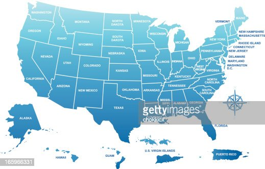 United States Of America Map Vector Art Getty Images - Puerto rico on us map