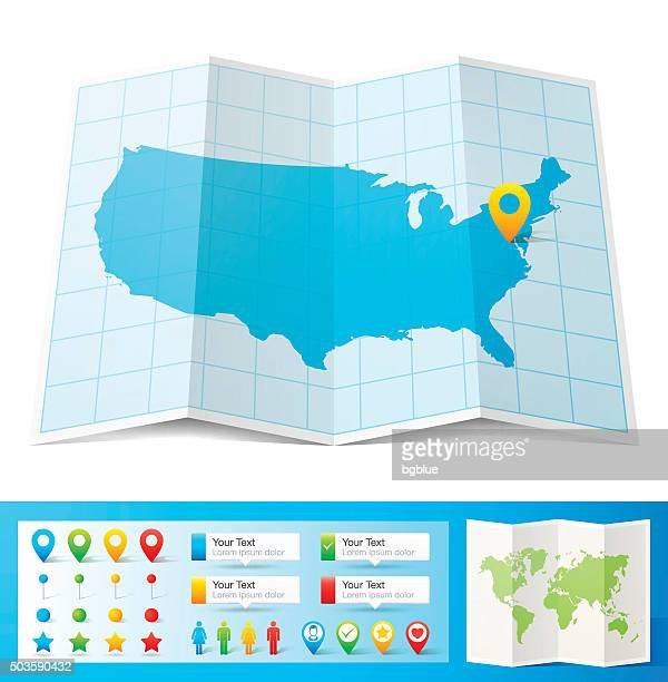 USA Map with location pins isolated on white Background