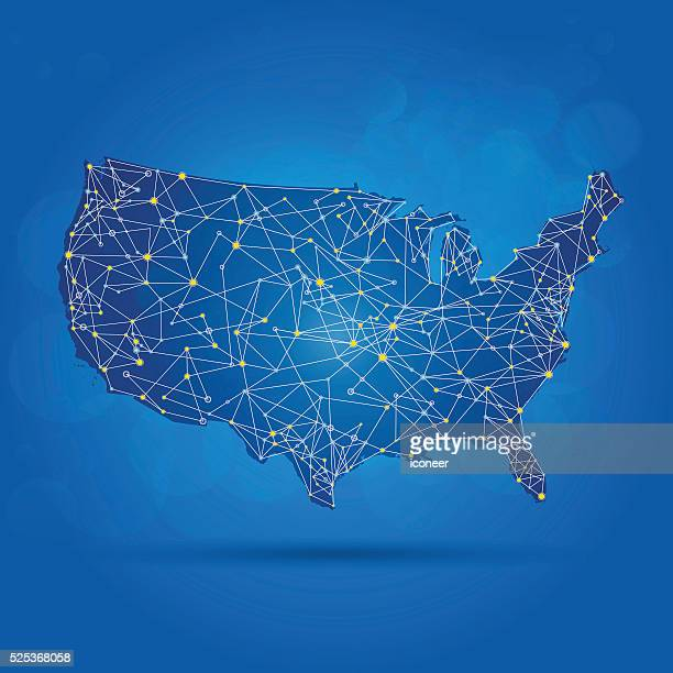 USA map with network surface on blue background