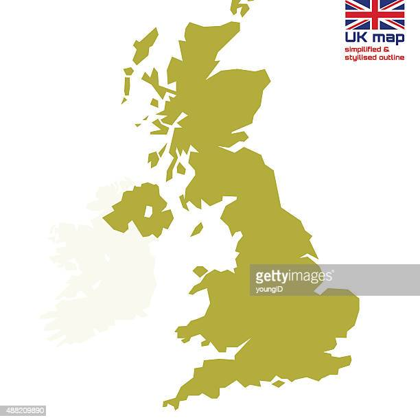 UK map with simplified & stylized outline