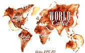 World Map of coffee drawn pour coffee with the inscription arabica coffee, Robusta coffee  with splashes and blots prints Cup.