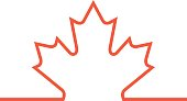 A vector frame being divided by a thick red line that rises to become a maple leaf. This symbol represents the country of Canada.