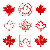 A set of custom maple leaf icons in vector format. In total there are nine unique Canadian symbols in this design.