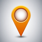 Map pointer icon, mapping point icon or mark place sign with shadow