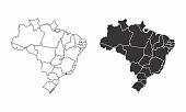 Simplified maps of Brazil with state divisions. Black and white outlines.