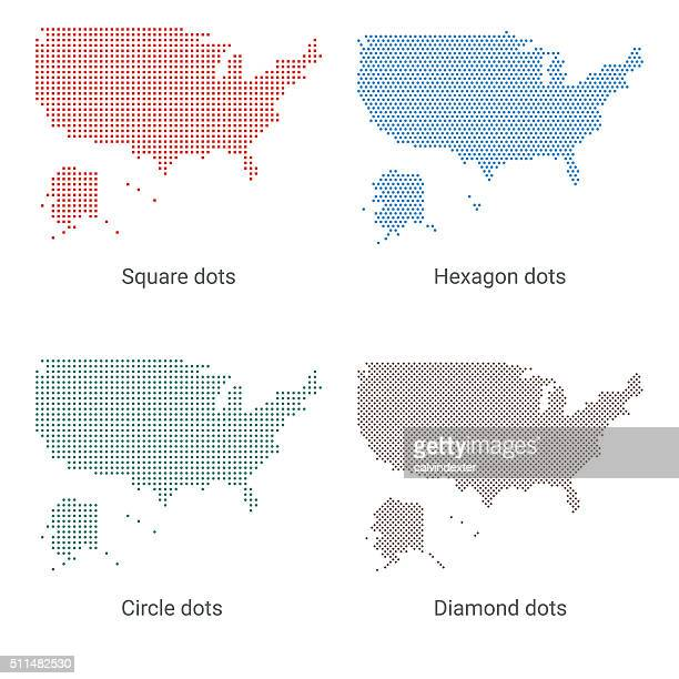 Maps of the United States of America - Dot designs