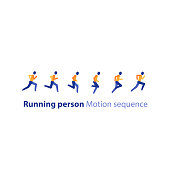 Running person side view, motion sequence set, abstract runner logo elements in row, marathon event, sport activity, triathlon running concept, vector flat design icon