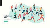 Marathon race group - flat modern vector concept illustration of running men and women wearing winter sportswer. Marathon race, 5k run, sprint. Creative landing page design template, web banner