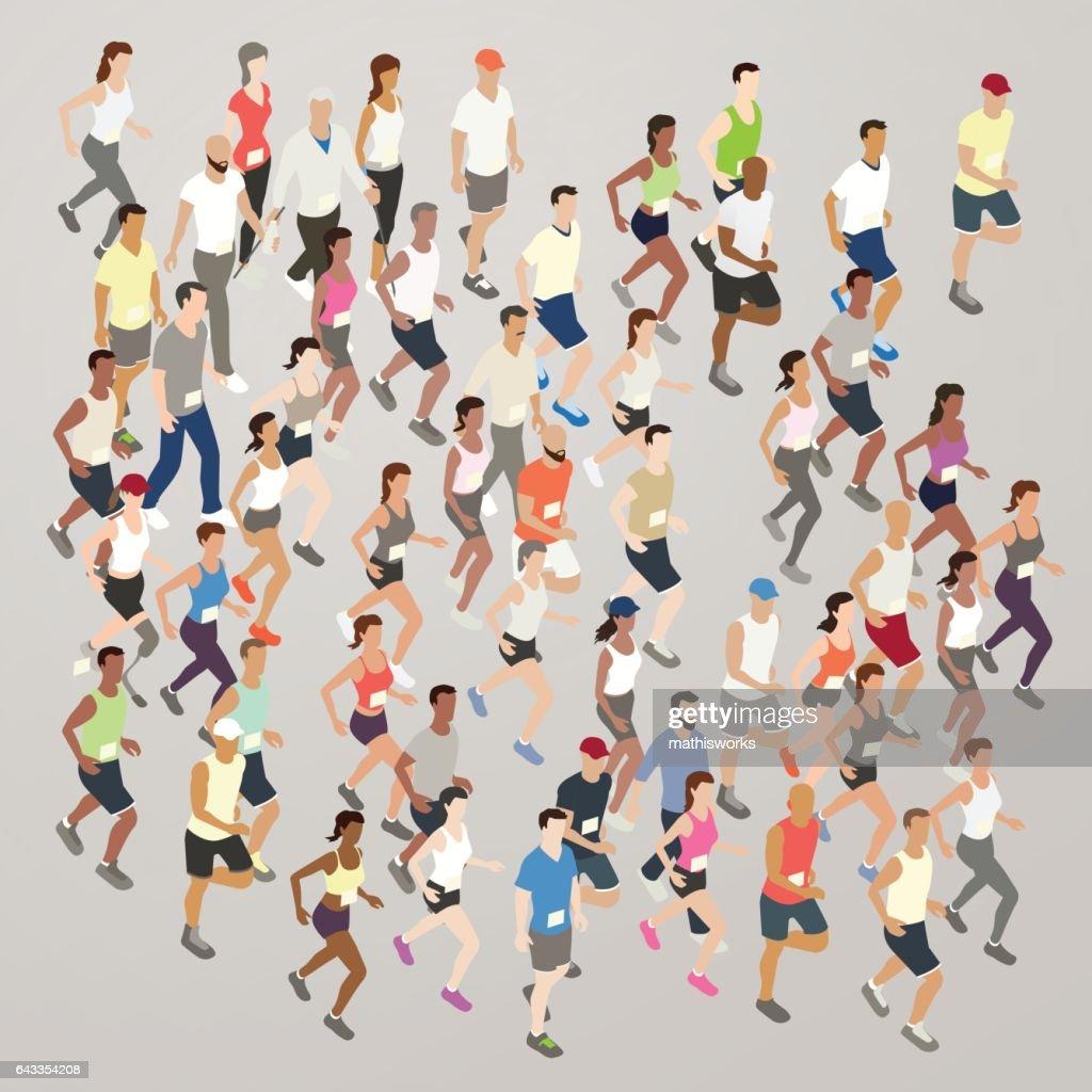 Marathon runners illustration : Vector Art