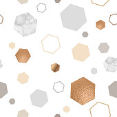 Marble gold seamless pattern for geometric poster, repeat background in trendy minimalist style with stone, hexagon, foil, glitter, metallic textures, vector illustration