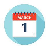 March 1 - Calendar Icon - Vector Illustration
