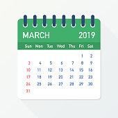 March 2019 Calendar Leaf. Calendar 2019 in flat style. Vector stock illustration.
