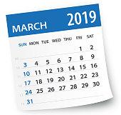 March 2019 Calendar Leaf - Illustration. Vector graphic page